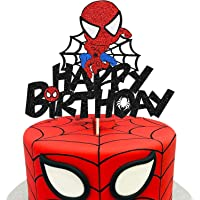 KAPOKKU Cute Spiderman Happy Birthday Cake Topper Avengers Crew Theme Cake Decor Boy Children Superhero Party Decoration…