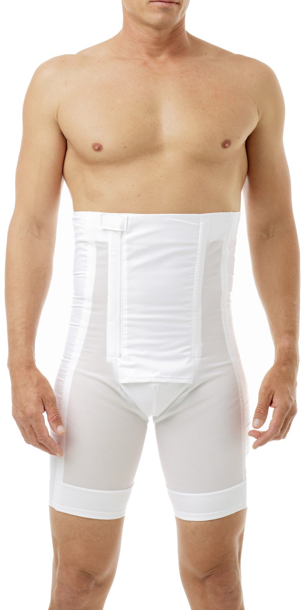 Underworks Men's Power Shaper Long Leg Brief Girdle, Waistline - Large 37-40, White