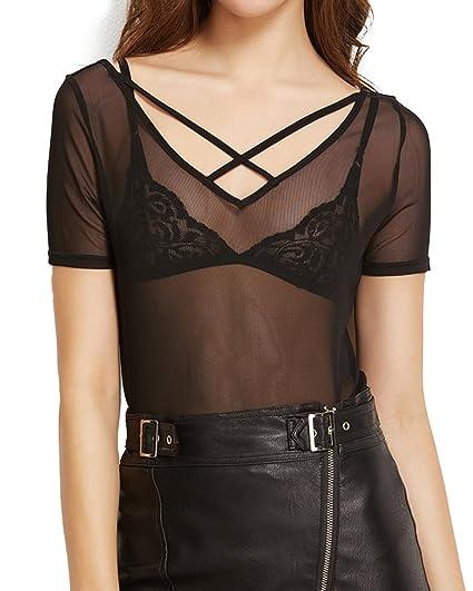 StyleDome Mujer Camiseta Transparente Malla Mangas Cortas Blusa Cuello Pico Noche Deportiva Negro EU 44