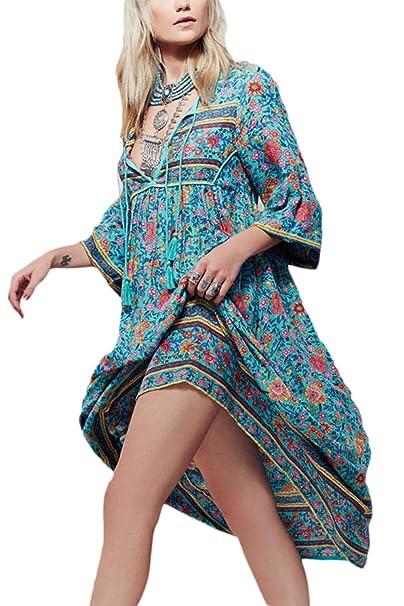 La Mujer Elegante Floral Vintage Boho Profundo Cuello En V Vestido De Fiesta Tallas Grandes Ropa De Playa: Amazon.es: Ropa y accesorios