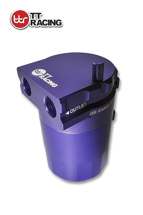 TT Racing aluminio depósito de aceite Catch Can tanque filtro de cámara doble inoxidables morado 0
