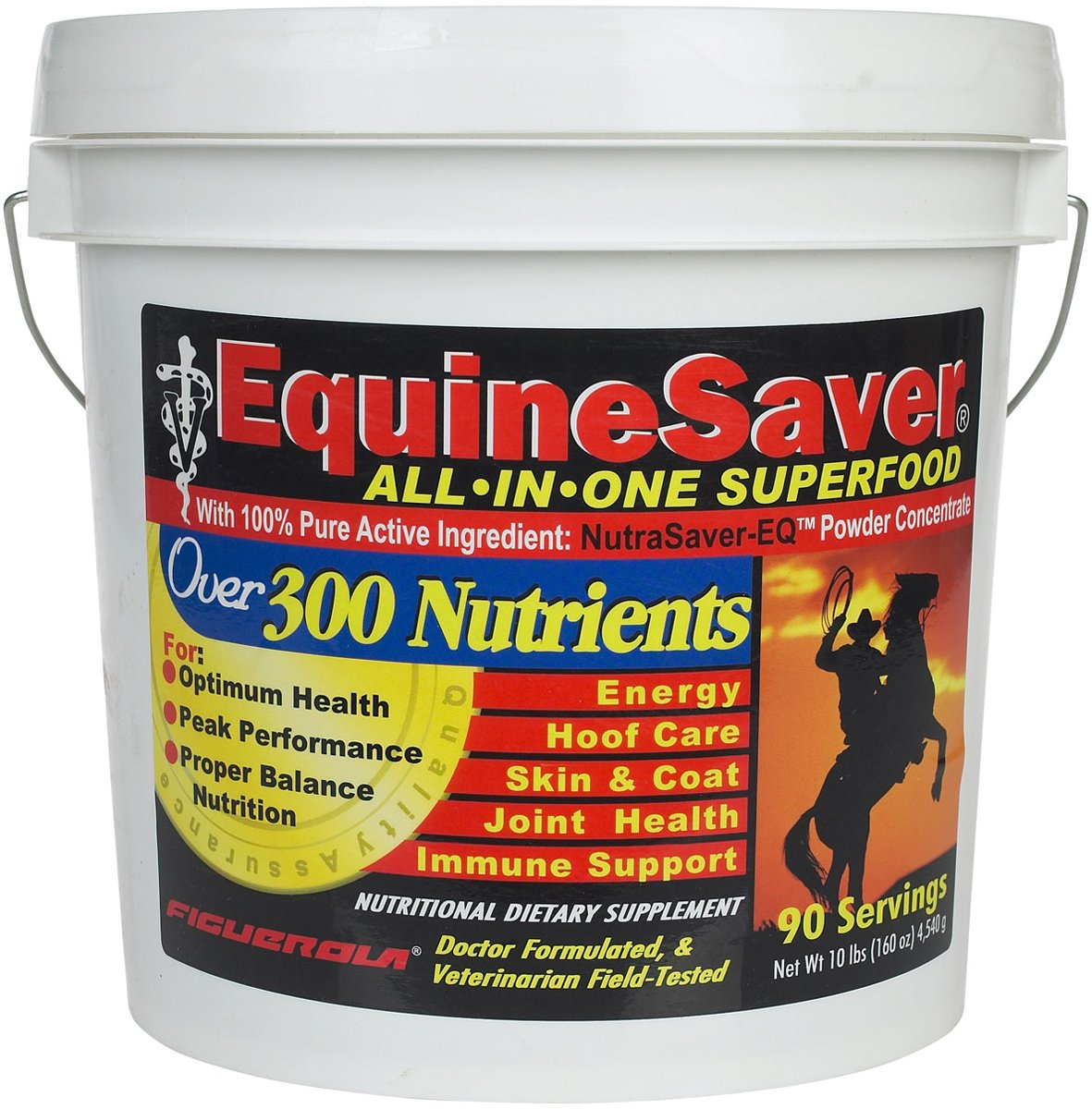 EquineSaver Nutritional Supplement for Horses by Figuerola. Contains NutraSaver-EQ  300 Key Nutrients to Supply Your Horse's Nutritional and Therapeutic Needs for Optimal Health and Performance.