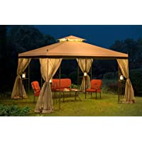 10x12 Gazebo Canopy Outdoor Patio Garden Backyard Dining Pergola Steel Frame Soft Top with Netting