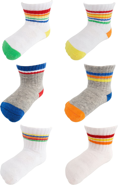 Baby Boys Stripe Cotton Dress Socks 6pp Anti-Slip Hand-linked Toe Seam 6-12M
