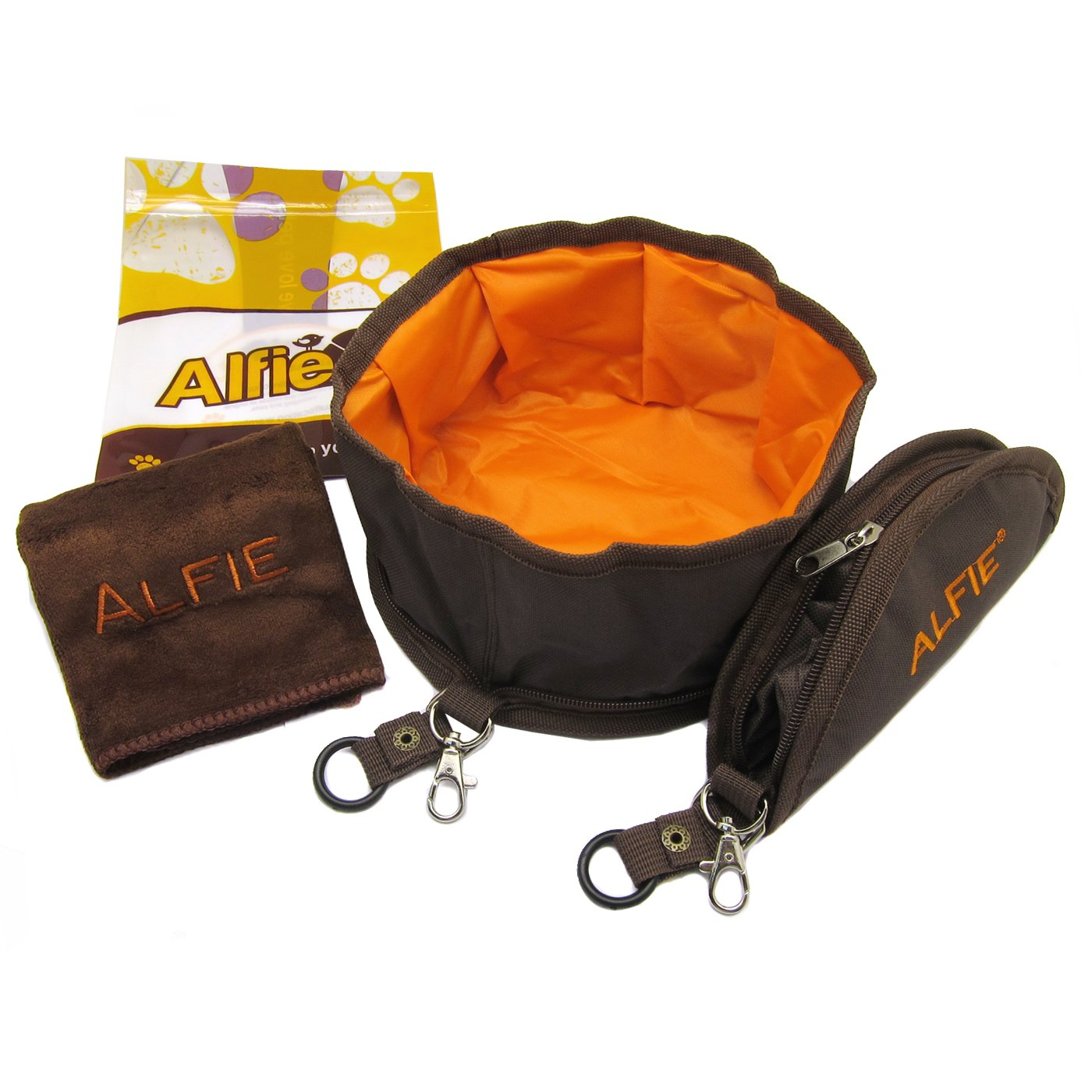 Alfie Pet by Petoga Couture - Set of 2 Fabric Expandable/Collapsible Travel Bowl (for food and water) with Microfiber Fast-Dry Washcloth - Color: Brown