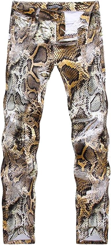 Sasairy Hombre Pantalones de Algodón con Impresión de Snakeskin Pantalones Rectos Pantalones Casual para Hombre, Talla Española 40-48: Amazon.es: Ropa y accesorios