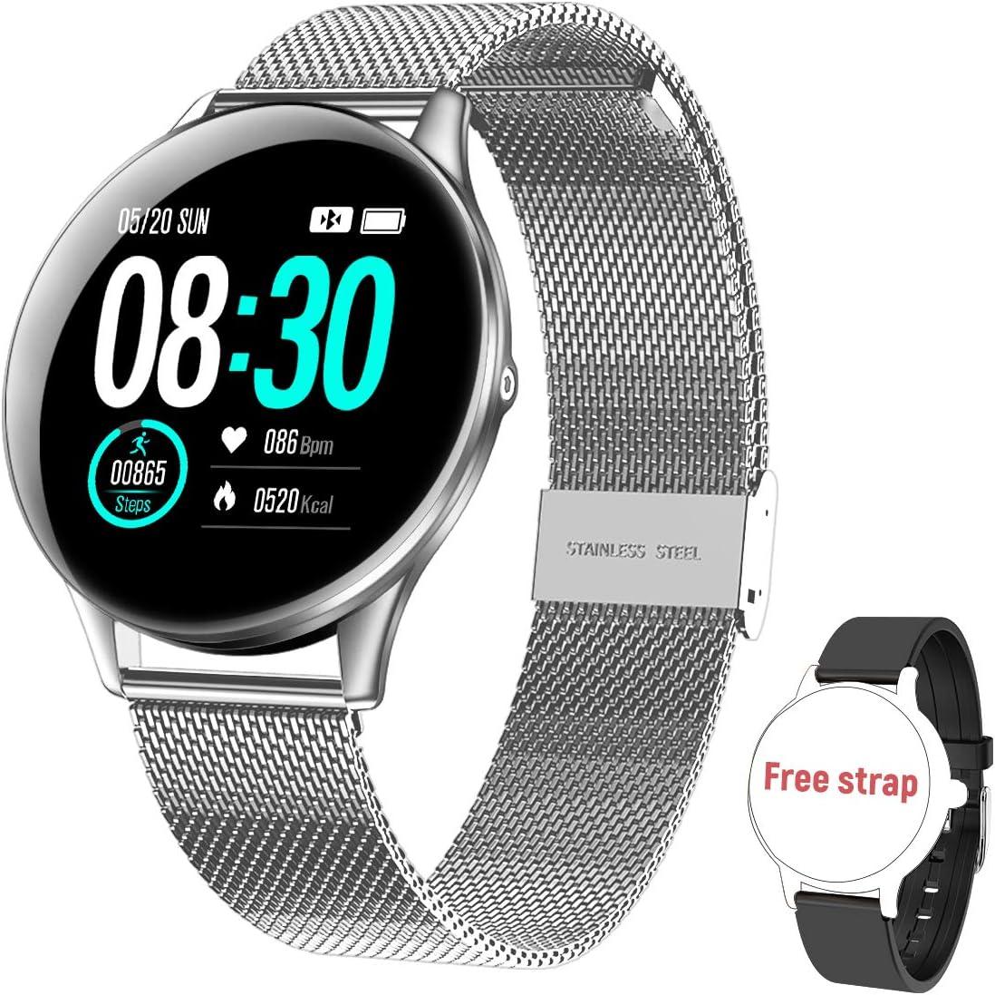 Reloj Inteligente para Mujer y Hombre HopoFit, Smartwatch de Android iOS Phone con monitoreo de frecuencia cardíaca/sueño, Seguimiento de Actividad física, IP67 Reloj Impermeable.(Silver)