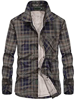 9a915157f6bb Chartou Men's Thermal Button-Down Fleece Lined Flannel Plaid Twill Work Shirt  Jacket