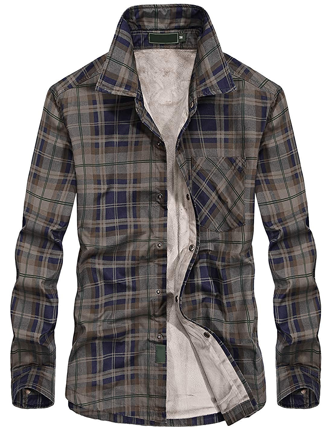 Chartou Mens Thermal Button Down Fleece Lined Flannel Plaid Twill