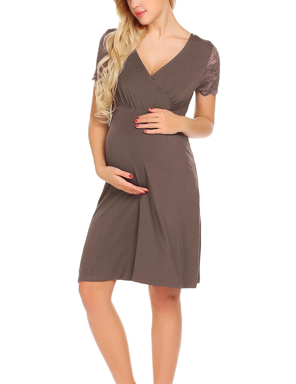 Unibelle Vestito da maternità Donna Abito di maternità Abito in Pizzo Abito di Gravidanza Scollo a V a Maniche Corte Elegante *COK008891