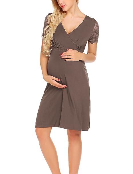 8a3a1016b8c2 UNibelle Vestito da maternità Donna Abito di maternità Abito in Pizzo Abito  di Gravidanza Scollo a V a Maniche Corte Elegante  Amazon.it  Abbigliamento