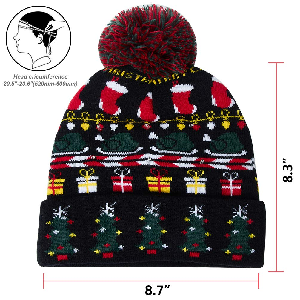 f1cadc0d3602a Amazon.com  Uideazone Light Up Holiday Cap Christmas Tree Pattern X-Mas Hat  with LED Lights  Clothing