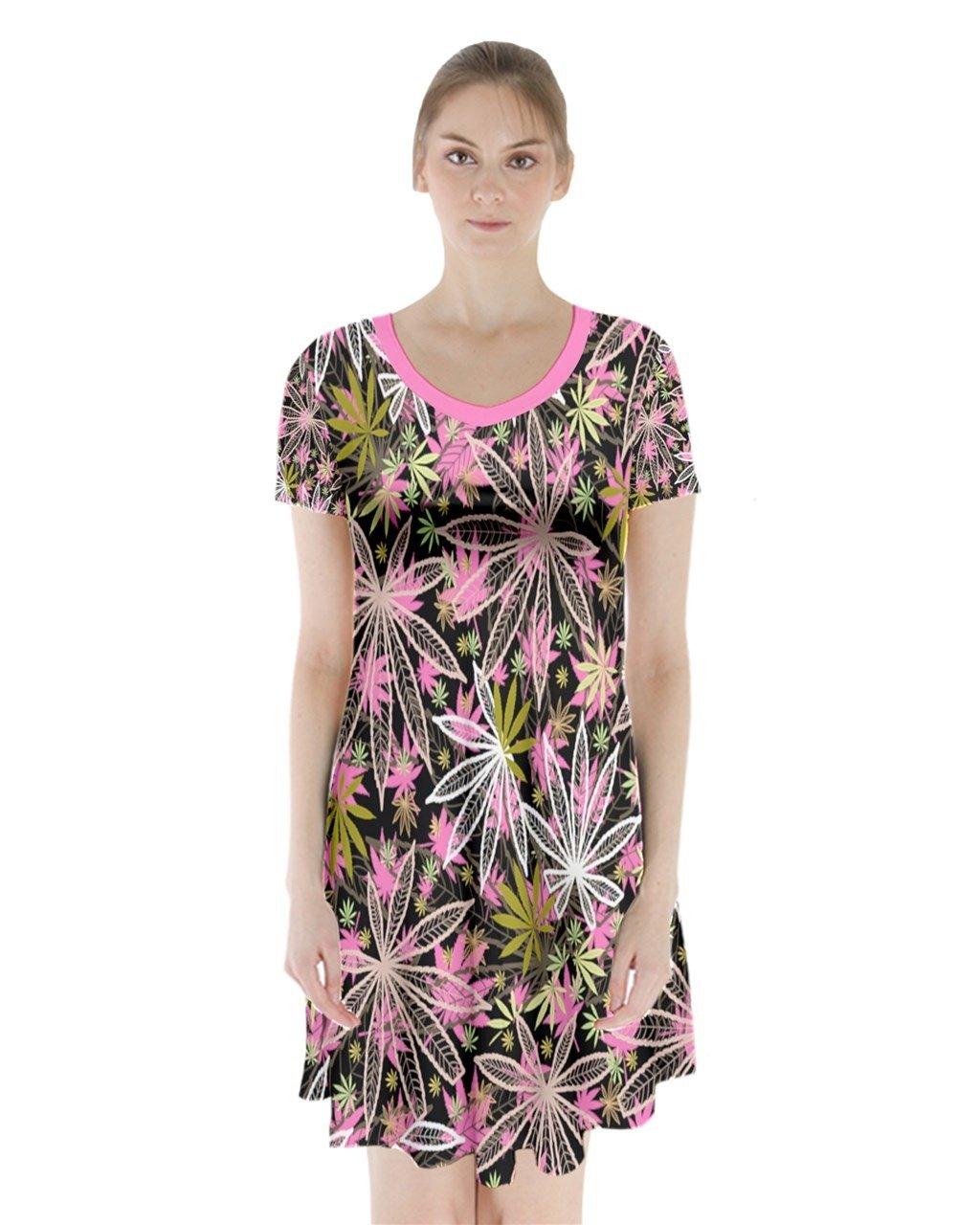 PattyCandy Womens Cannabis Marijuana Short Sleeve V-Neck Flare Dress,XS-3XL