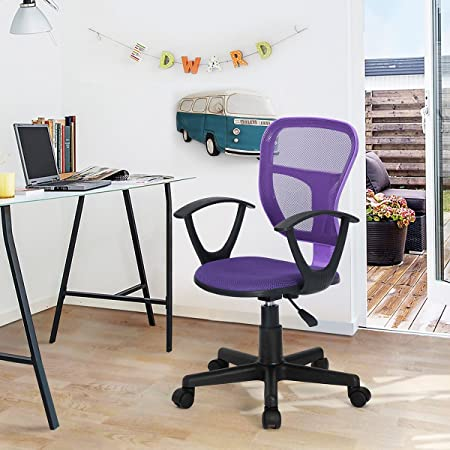 HOMY CASA Swivel Work Office Desk Task Chair Mid Century Modern Mid-Back Height Adjustable Upholstered Velvet Foam Cushion Seat with 360 Rotation Castor Wheels MESH ARM Purple