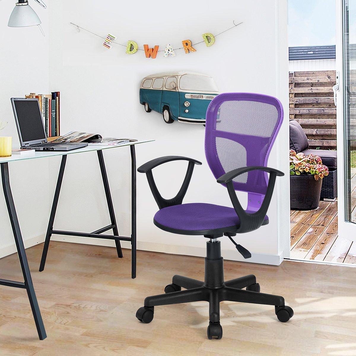 HOMY CASA Swivel Work Office Desk Task Chair   Mid Century Modern Mid-Back Height Adjustable Upholstered Velvet Foam Cushion Seat with 360 Rotation & Castor Wheels (MESH ARM Purple)