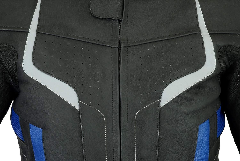 Texpeed Pro Herren Motorradjacke aus schwarzem Leder f/ür Rennen entfernbare Protektoren erh/ältlich in 3 Farben