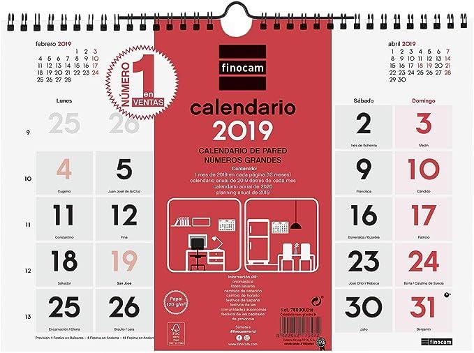 Finocam 780010019 - Calendario de pared 2019: Amazon.es: Oficina y ...