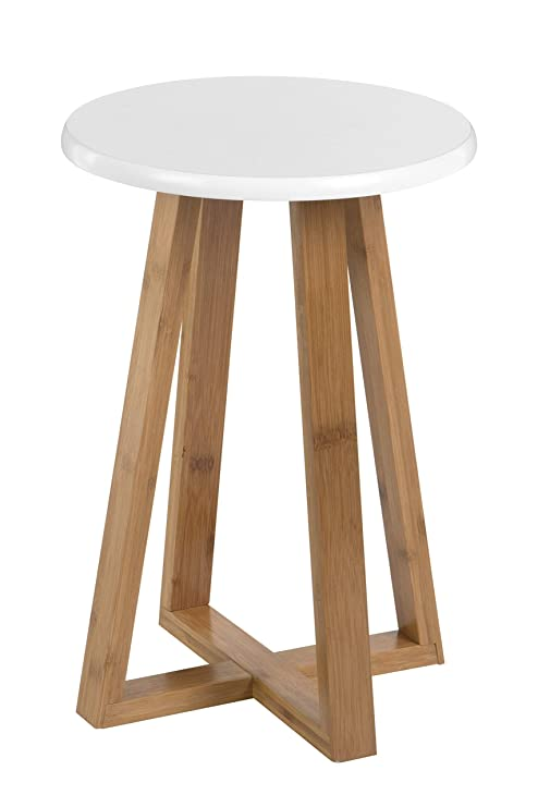Premier Housewares Bambus Hocker Viborg Rund Bambus Weiß