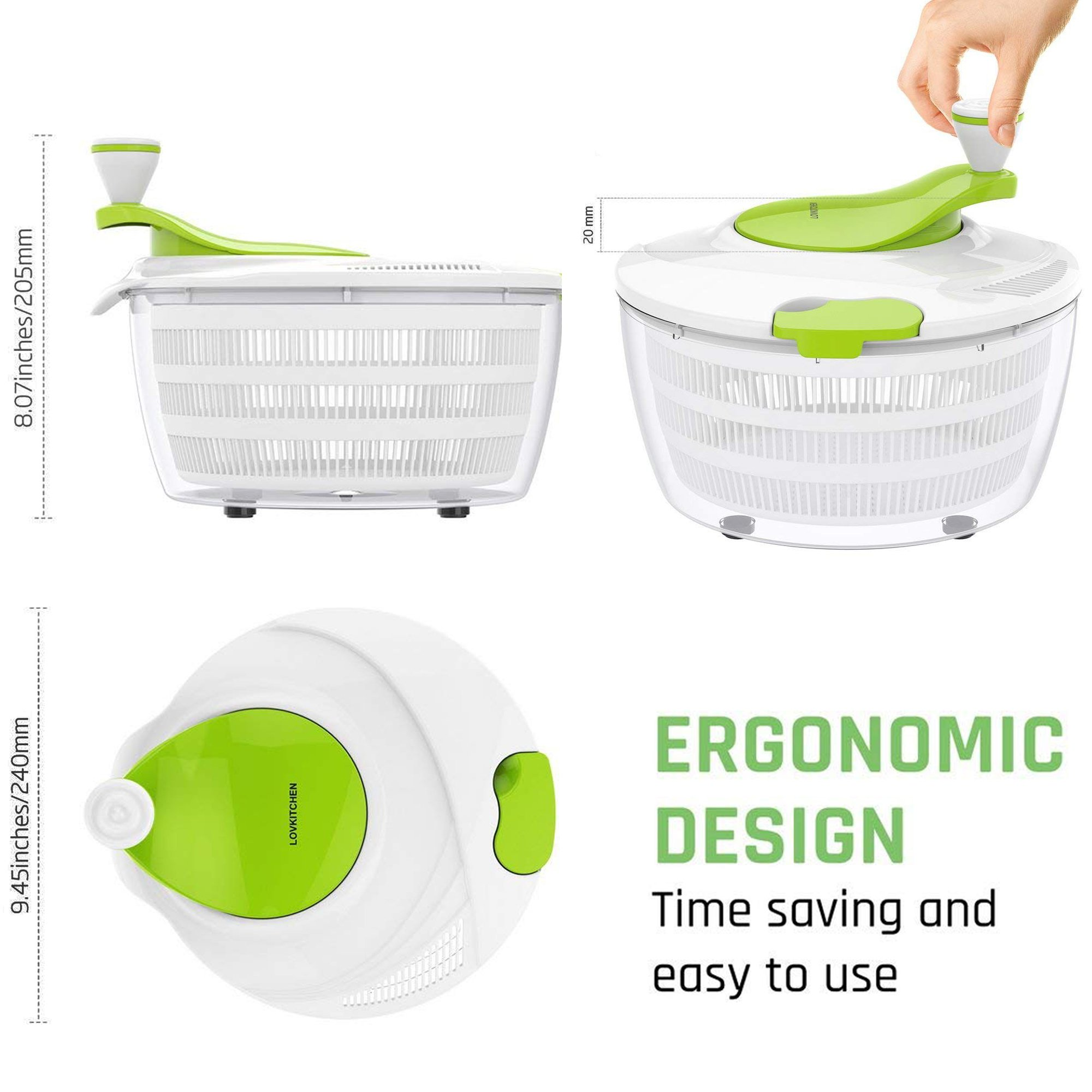 Salad Spinner Dryer,LOVKITCHEN Vegetables & Fruits Dryer with Large 4 Quarts & Quick Dry Design BPA,Ease for Tastier Salads and Faster Food Prep by Lovkitchen (Image #2)
