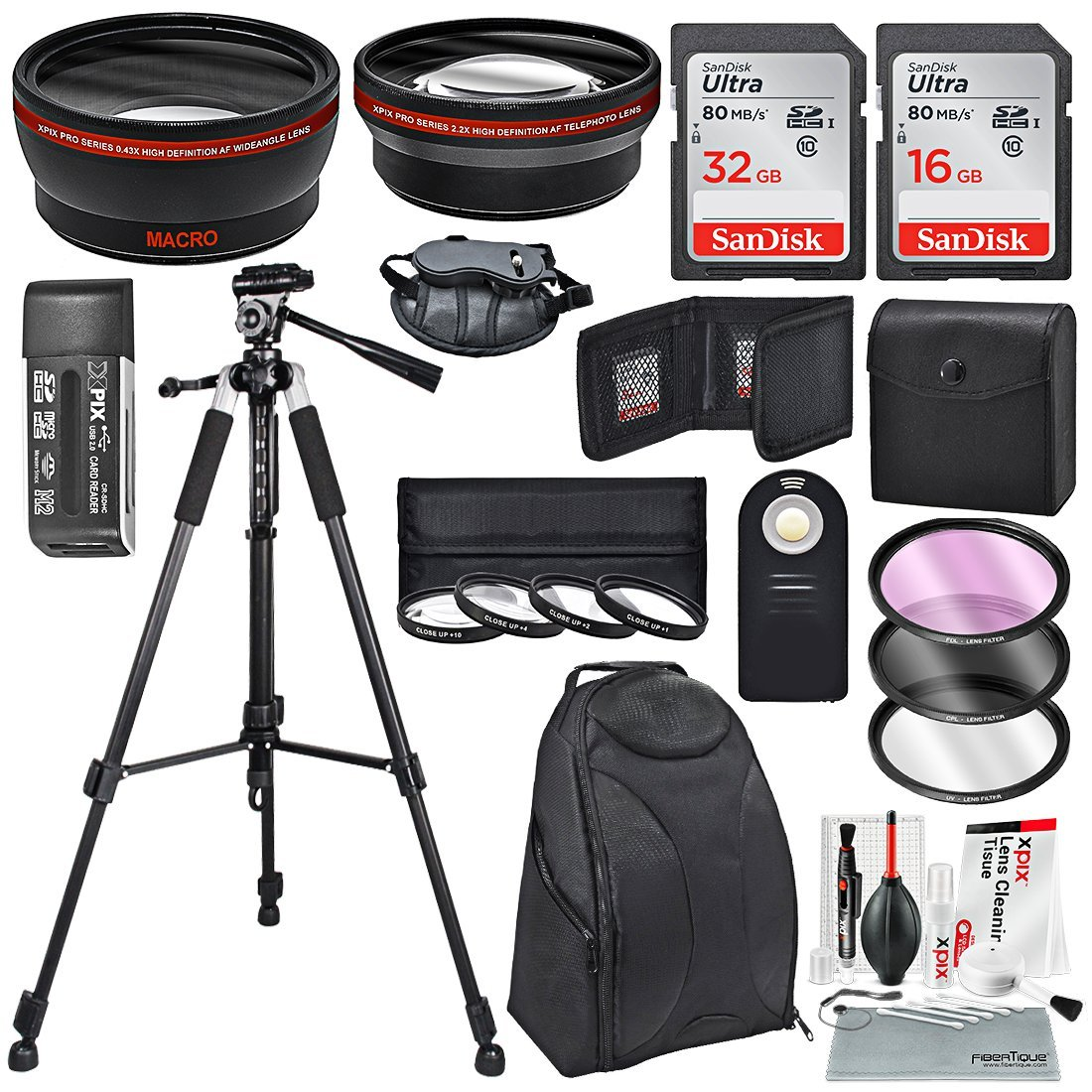 58MM HD 2.2X Telephoto and 0.43X Wide Angle + Xpix Photo Accessories w/Essential Photo and Travel Bag for Canon Rebel (T6s T6i T5i T4i T3i T3 T2i T1i XT), EOS (700D 650D 600D 1100D 550D 500D 100D)