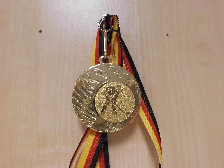 mit einem Emblem Farbe: Gold e262 aus Stahl 40mm Eishockey Puck mit Alu Emblem 25mm - Fanshop L/ünen Medaillen inkl Medaillen-Band