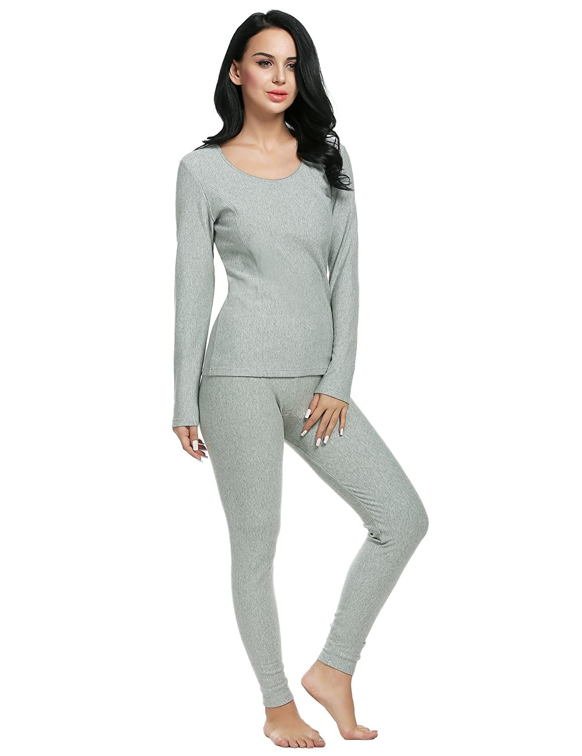 Langle Women's Thermal Underwear Set Soft Viscose Top and Smooth Knit Bottoms S-XXL LAMK007873