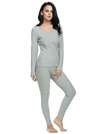 Langle Women 2 Piece Winter Nightgowns Warm Long Thermal Set Plus Size  (Gray d635ba97f