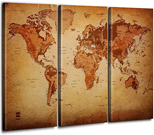 Large 3 Panel Vintage World Map Painting Canvas Prints Wall Art Framed Pictures Retro Leather Pattern Background Map Of The World Artwork Elevation Tint
