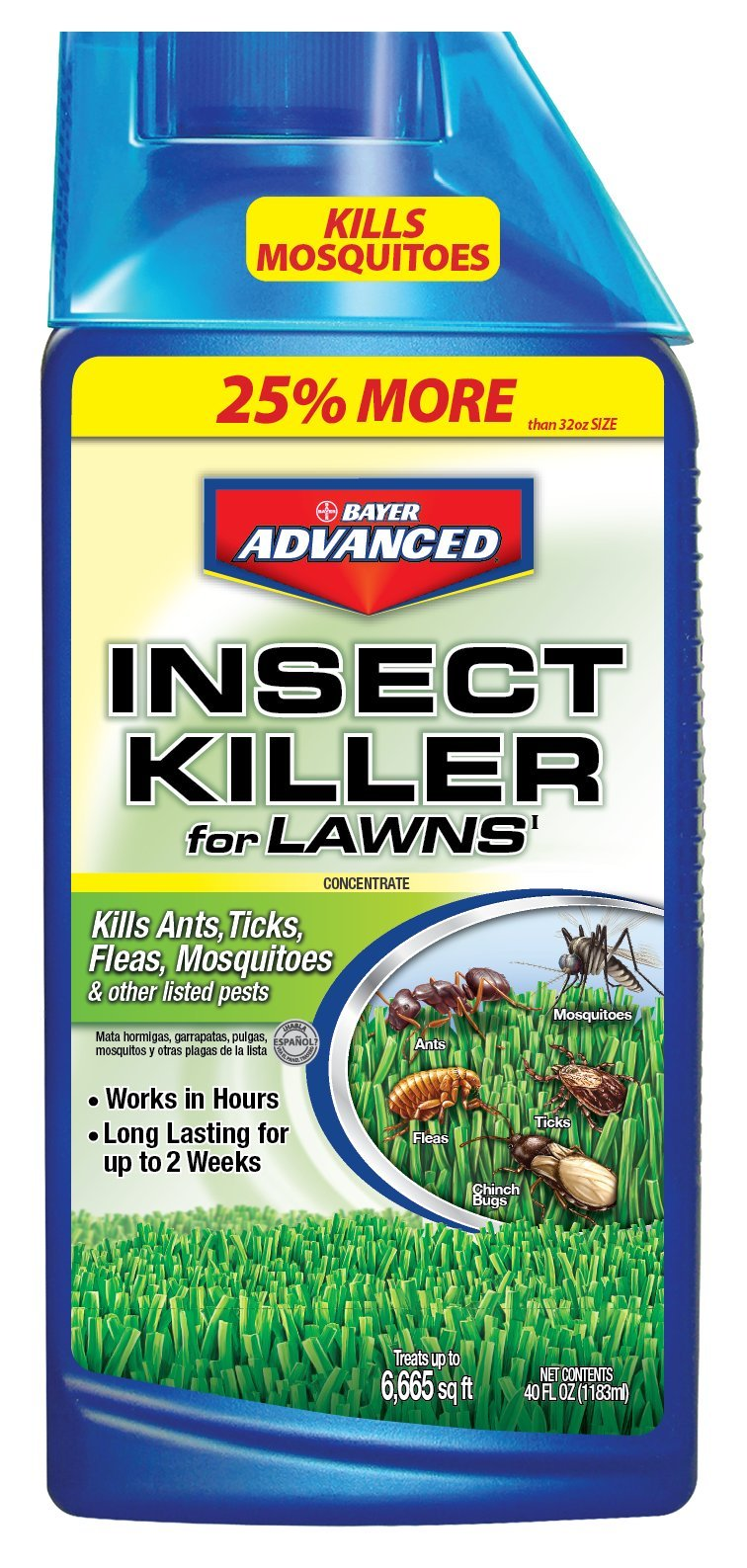 Bayer Advanced 100532526 Bayer Lawn Insect Killer Concentrate, 40 oz, White