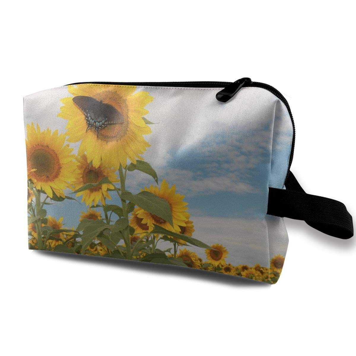 Sunflowers Butterfly Small Travel Toiletry Bag Super Light Toiletry Organizer for Overnight Trip Bag