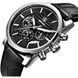 BENYAR Quartz Chronograph Waterproof Watches Business and Sport Design Leather Band Strap Wrist Watch