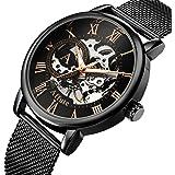 Relojes mecánicos para Hombres Reloj de Pulsera con Cuerda Manual de Acero Inoxidable con Malla de Esqueleto clásico.