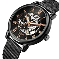 AFFUTE Mechanical Watches Men Classic Skeleton Mesh Stainless Steel Strap Hand-Wind Wrist Watch in Black