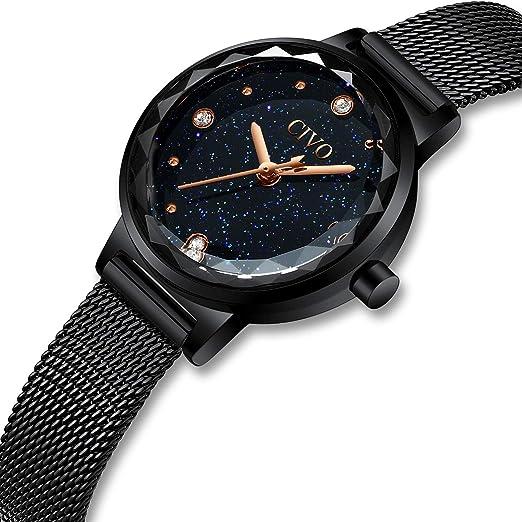 CIVO Relojes para Mujer Reloj Damas de Malla Impermeable Silm Negro Elegante Banda de Acero Inoxidable Relojes de Pulsera Moda Lujo Vestir Negocio Casual ...