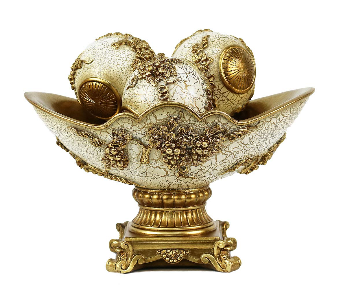 Emenest Decorative Table Centerpiece | Home Decor Bowl and Orbs Set of 4 | Prime Gifting Idea | Mantle with Spheres| House Decorations Accents for Dining or Living Room |Gift Boxed – Cream & Gold