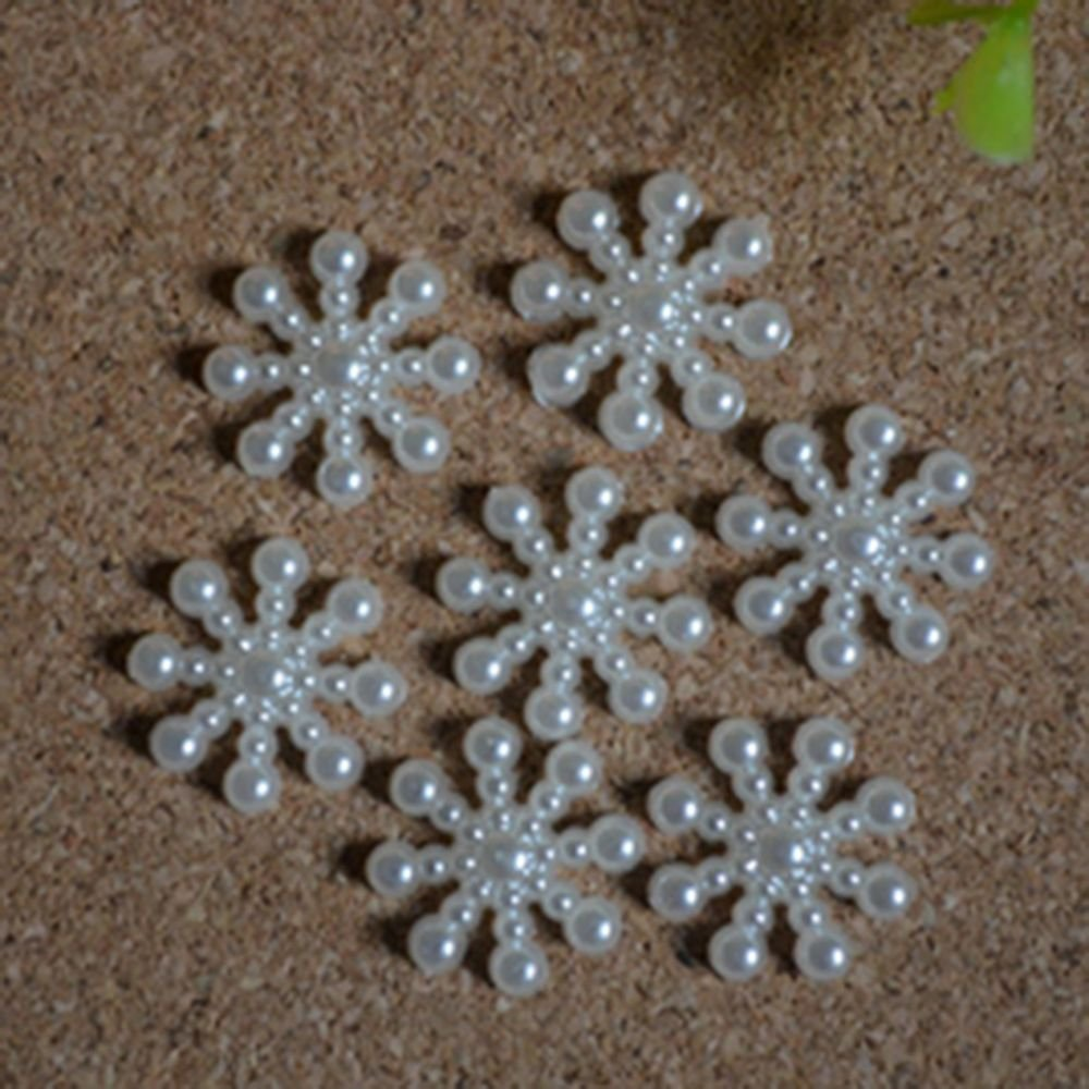 forviupet Card 100Pcs DIY Wedding Decor Embellishment Christmas Snowflake Flatback Pearl