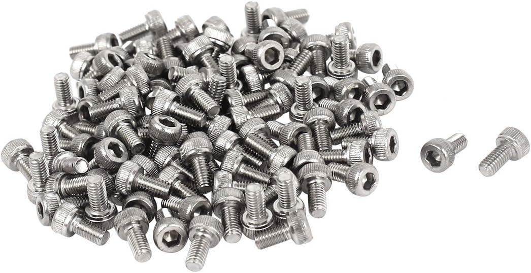uxcell M3x6mm 0.5mm Pitch Bolts Hex Socket Cap Knurl Head Screws 100pcs