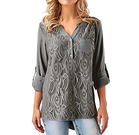 2256c4e4e64 Meeshine Women Casual Tops Button Down V-Neck Cuffed Sleeve Blouses Shirt  Tunic With Pocket at Amazon Women s Clothing store