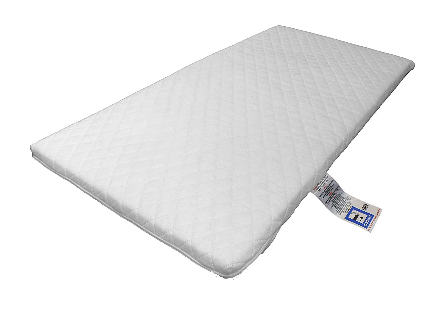 LAURA® Deluxe Hypo-Allergenic Eco Air Flow Quilted Dual Sided Travel Cot Mattress 119 x 59cm x 5cm Thick British Made
