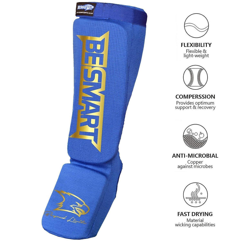 BeSMART BS espinilleras MMA Empeine Muay Thai Kick Boxing Guardia Pantalla G
