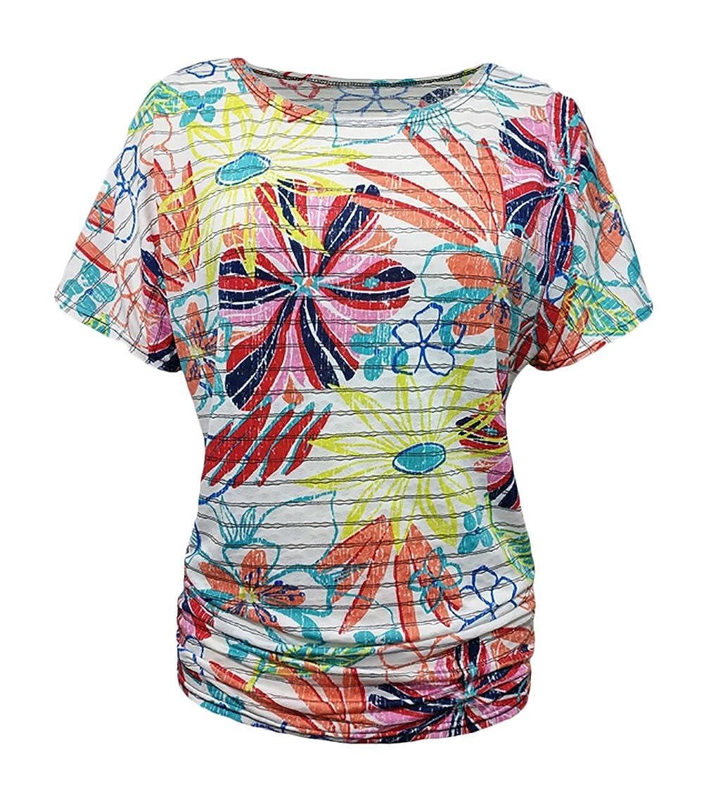HaiDean Shirt De Mujer Elegantes Vintage Floreadas Camisas Verano Manga Corta Modernas Casual Cuello Redondo Fashion Anchas Casual Basicas Camiseta Tops ...