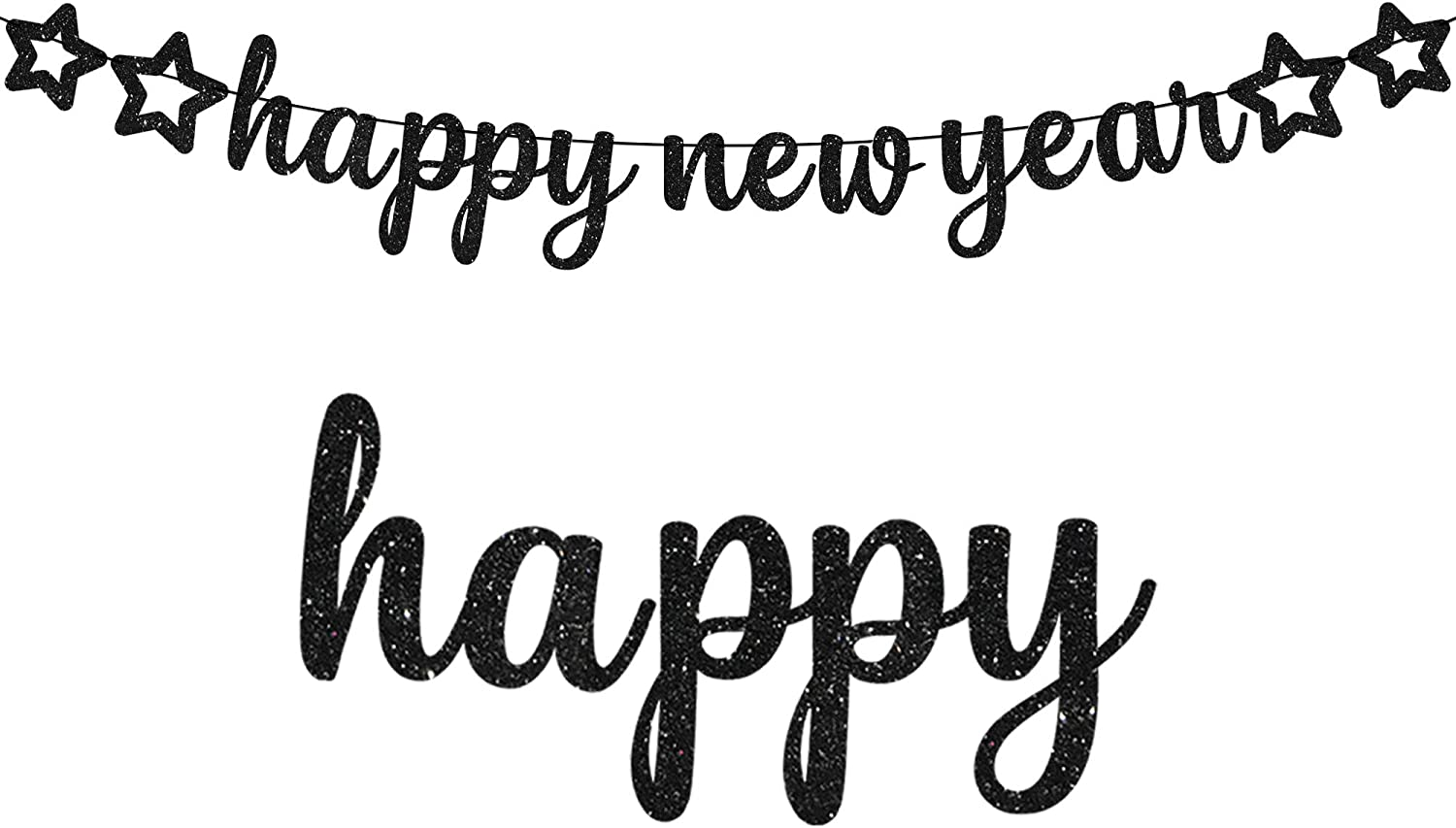 Happy New Year Banner for NYE Decorations 2021 - Black Glitter   Happy New Year Sign for 2021 New Years Decorations   New Years Eve Party Supplies 2021   RoseGold Happy New Year Decorations 2021