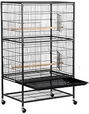 Yaheetech Grande Volière pour Oiseaux Cage sur roulettes Canaries Perroquet Perruches Cacatoès Ara 2 Étages