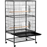 """Yaheetech 52"""" Bird Cage Large Wrought Iron Flight Cage with Rolling Stand+2 Doors+4 Feeder Trays+2 Perches for Parrot Cockatiel Cockatoo Parakeet Finches"""