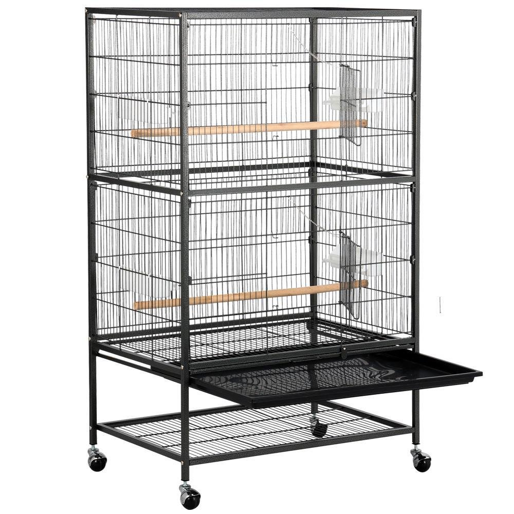 Yaheetech 52 Bird Cage Large Wrought Iron Bird Cage with Rolling Stand+2 Doors+4 Feeder Trays+2 Perches for Parrot Cockatiel Cockatoo Parakeet Finches