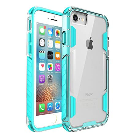 Egotude Anti Shock Hard Back Soft Bumper Transparent Hybrid Case Cover for Apple iPhone 7 / iPhone 8   Mint Green Mobile Accessories