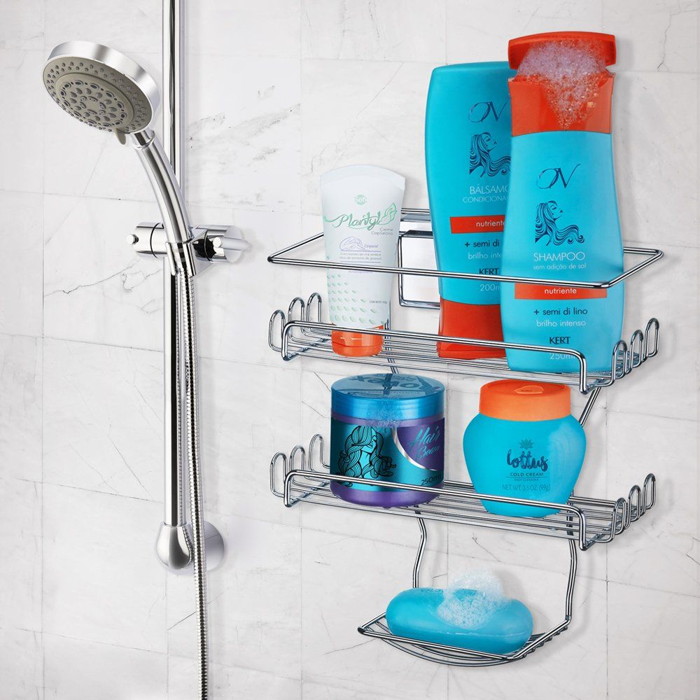 Amazon.com: Arthi Shower Caddy With Suction Cups. 3 Tier Basket for ...
