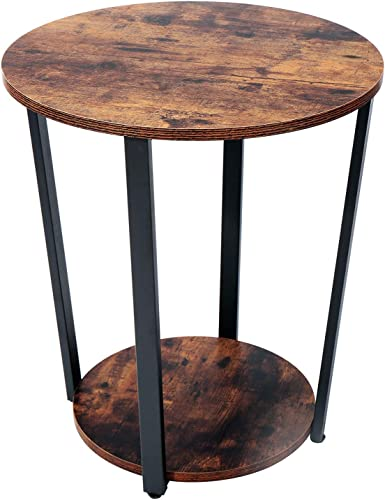 Yusong Round End Table,Industrial Nightstand Beside Table