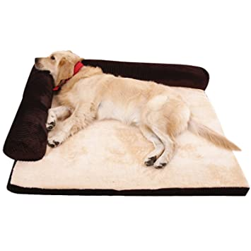 AcornPets B 1203 Extra Large Deluxe Coffee Brown Memory Foam Dog Sofa Bed  Fleece 110