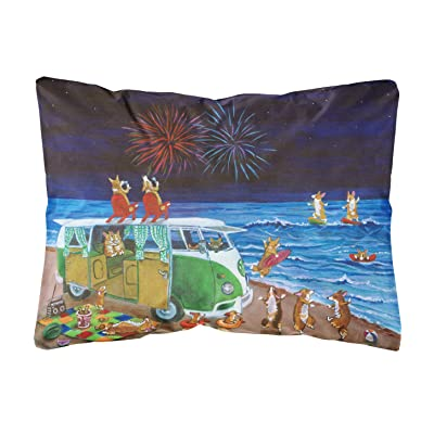 Caroline's Treasures 7317PW1216 Corgi Beach Party Volkswagon Bus Fireworks Fabric Decorative Pillow, 12H x16W, Multicolor : Garden & Outdoor